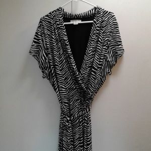 Black & White Wrap Dress